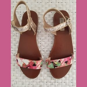Steve Madden Donddi Floral Glitter Flat Sandals 9M